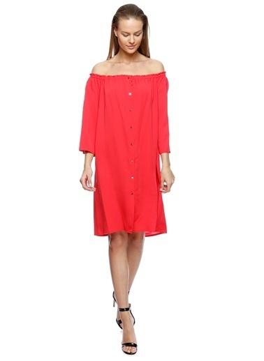 Beymen Studio Beymen Studio Kayık Yaka Kırmızı Elbise Bordo